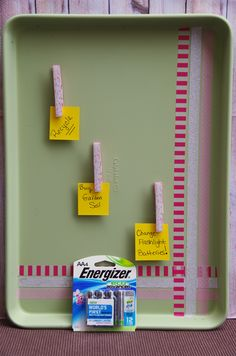 Turn something old into something new! Easy Upcycled DIY Cookie Sheet Memo Board Craft and simple steps for living green. #BringingInnovation #ad