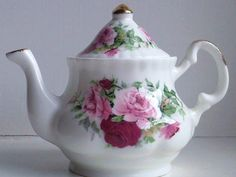 Miniature Pink Roses Teapot  bone china made in by MossMountain,