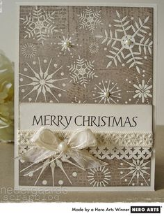 handmade Christmas card with white embossed snowflakes Homemade Christmas Cards, Christmas Cards To Make, Christmas Greeting Cards, Christmas Greetings, Greeting Cards Handmade, Handmade Christmas, Homemade Cards, Holiday Cards, Homemade Greeting Cards