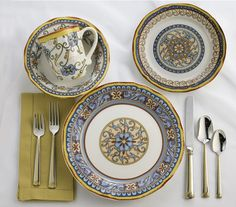 Duomo 16 Piece Dinnerware Set by EuroCeramica & Haus 16-Piece Brown and Blue Dinnerware Set | Dinnerware Haus and ...