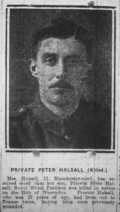 Private Peter Halsall, 55049, 19th Bn. Royal Welsh Fusiliers, died 24 November 1917.