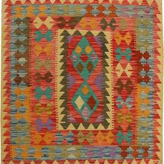 Afghani Hand Knotted Vegetable Dyed Killim Size M x M Knots, Bohemian Rug, Rugs, Home Decor, Farmhouse Rugs, Decoration Home, Room Decor, Knot, Carpets
