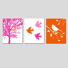 Set of Two 11x14 Prints - Birds and Trees - Bathroom, Nursery, Kitchen, Bedroom - Hot PInk, Red Orange - Choose Your Colors. $48.50, via Etsy.