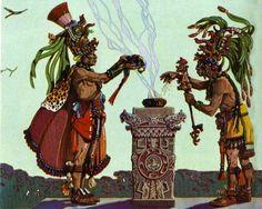 Dos Mayas sacrificando un Perico / Two Mayan priests sacrificing a parrot Mayan History, Ancient History, Aztec Religion, Ancient Aztecs, Aztec Culture, Aztec Warrior, Aztec Art, Alien Creatures, Mesoamerican