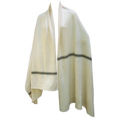 Preowned Calvin Klein Luxurious Cashmere Ivory Striped Shawl Wrap C... ($375) ❤ liked on Polyvore featuring accessories, scarves, shawls, white, cashmere scarves, calvin klein scarves, calvin klein, wrap shawl and cashmere wrap shawl