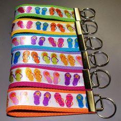 Back in Stock!  Flip Flop Key Fob, you choose webbing color by IslandGirlBags, $5.00