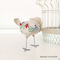 Minerva the fabric softie bird in vintage embroidered linen. By Sweet Reverie
