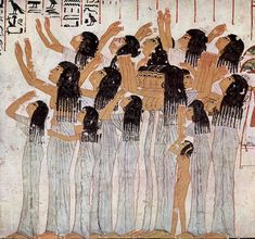 Lamenting Women, from the tomb (TT55) of Ramose, c. 1411-1375 BCE Necropolis of Sheikh Abd el-Qurna is located on the West Bank at Luxor (Thebes), Egypt