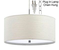 "PLUG IN White Nickel Modern Drum Pendant Light Swag Lamp Hanging Chandelier 18"" Wide - - Amazon.com"