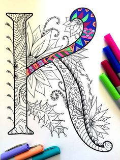 Letter K Zentangle Inspired by the font Harrington von DJPenscript                                                                                                                                                                                 Mais