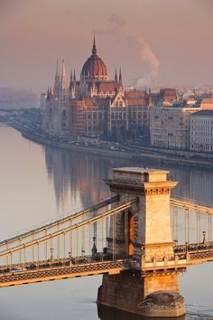The Danube River that separates Buda from Pest (pronounced Pesht). The building in the pic is the Parliamentary building.