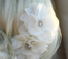 Silk organza flowers hair clip for wedding by WearableArtz on Etsy, $78.00