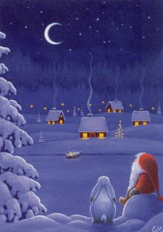christmas illustration eva melhuish - G - Christmas Scenes, Noel Christmas, Vintage Christmas Cards, Christmas Pictures, Winter Christmas, Christmas Crafts, Christmas Decorations, Christmas Bunny, Winter Snow