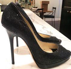 1cd111faf4e9 Authentic Jimmy Choo Tayten Glitter Lame Peep Toe Stiletto Pump Size 9 EU39