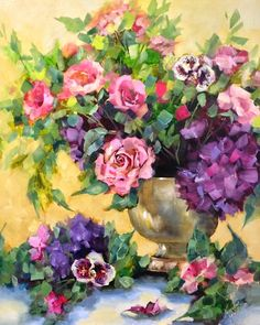 Vintage Hydrangeas and Pink Roses   Nancy Medina Art