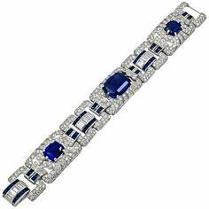 For Sale on - Art deco platinum diamond and cabochon sapphire bracelet. Sapphire Bracelet, Sapphire Jewelry, Diamond Bracelets, Gemstone Bracelets, Jewelry Bracelets, Jewellery, Metal Bracelets, Jewelry Watches, Bijoux Art Deco