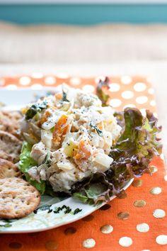 Apricot Basil Chicken Salad - sub plain coconut milk yogurt for the greek yogurt OR omit and use more mayo to make this dairy free.