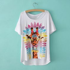 Relaxed Scoop Neck Indian Feather Giraffe Print Short Sleeve T-Shirt For Women (WHITE,L) China Wholesale - Sammydress.com