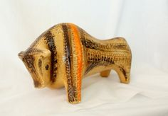 RESERVED RARE Bitossi Ceramic Bull - Tan Orange Brown - Mid Century Modern 1960s
