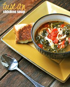 Tuscan Chicken Soup -- packed with protein and vitamins A, C, & K!