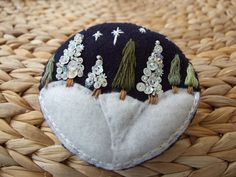Hand Embroidered Winter Scene Brooch by sweetheartsandroses, $15.00 (Love the buttons and the winter scene!)