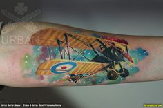 Colorful Camel: Sopwith Camel WWI Biplane Fighter Airplane Tattoo - Tattoos In Flight: Aviation, Airplane & Flying Related Tattoo Blog