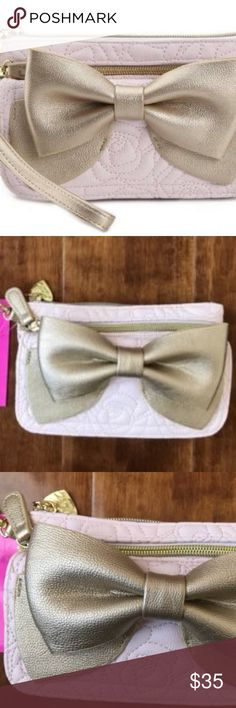 "BETSEY JOHNSON READY SET BOW BLUSH WRISTLET Retail $65.00  BETSEY JOHNSON READY SET BOW WRISTLET WALLET MINI PURSE Bring feminine-chic style with you on your next night out with the Ready, Set, Bow wristlet from Betsey Johnson. This gold bow-adorned wallet has plenty of pockets and card slots to carry everything you need!  Your phone should fit in the large zipper pocket. -Authentic Betsey Johnson product -Faux leather quilted roses blush pink, gold bow -Measures: 4.5""(h) x 2.5""(d) w/bow x…"