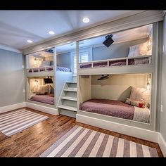 Amazing built-in bunk bunk beds with a tv for each one!  This is a kids dream!... - Home Decor For Kids And Interior Design Ideas for Children, Toddler Room Ideas For Boys And Girls