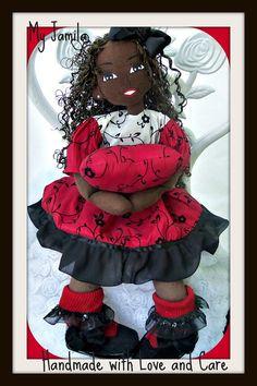 Handcrafted cloth ooak doll African American by Koziooakdolls, $95.00
