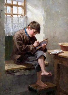 """""""Home Lessons"""". Ralph Hedley (1848 – 1913). English painter."""