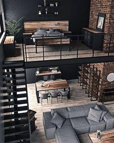 Loft Interior Design, Loft Design, Home Room Design, Interior Architecture, Condo Design, Casa Loft, Loft House, House Rooms, Industrial Apartment
