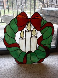 "Stained Glass Christmas Wreath 16"" x 17"" Beautiful 
