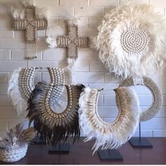 Feather-Shell-Tribal-Wall-Art-White-Juju-Post-Or-Pick-Up-Bacchus-Marsh