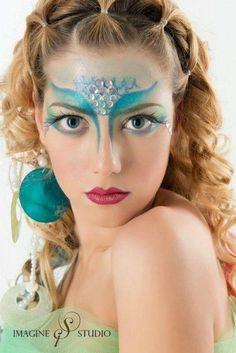 mermaid make up--(big shell earrings would be cute-L)