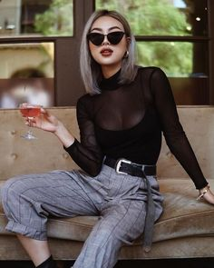 Mesh top outfit - 50 How to Wear Black Mesh Tops in Style Ideas 46 – Mesh top outfit Mesh Tops, Black Women Fashion, Womens Fashion, Cheap Fashion, Black Mesh Top, Black Tops, Style Noir, Casual Outfits, Fashion Outfits