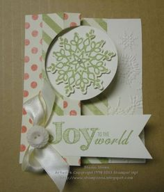 "like the use of the ""Joy to the world"" with ribbon on the thinlit card."