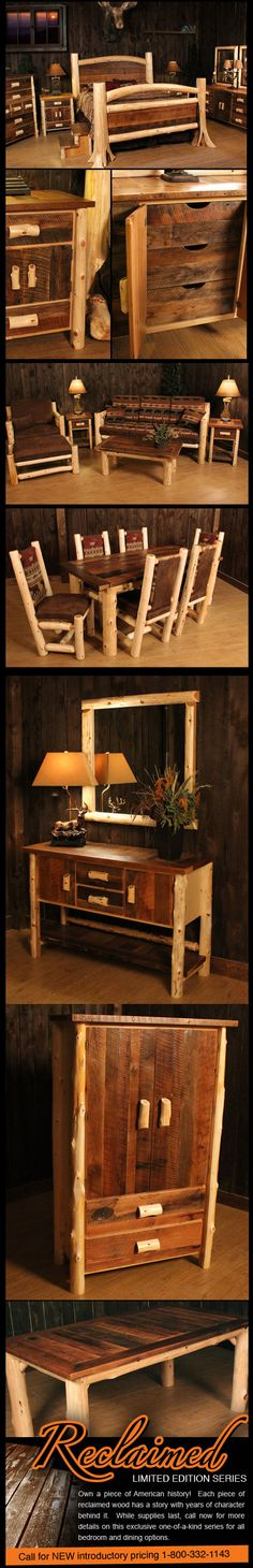 Reclaimed Wood Log Furniture. I can totally see my cousin Whit & Claire doing many of these!