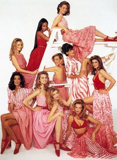 Claudia Schiffer, Naomi Campbell, Christy Turlington, Yasmeen Ghauri, Niki Taylor, Tatjana Patitz, Linda Evangelista, Elaine Irwin, Karen Mulder & Cindy Crawford | Patrick Demarchelier #photography | Vogue US April 1992 | via tumblr