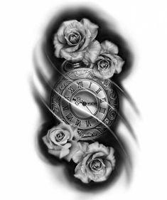 Tattoo Compass Clock Love New Ideas S Tattoo, Forarm Tattoos, Tattoo Hals, Skull Tattoos, Leg Tattoos, Body Art Tattoos, Tattoo Drawings, Sleeve Tattoos, Rose Tattoos For Men