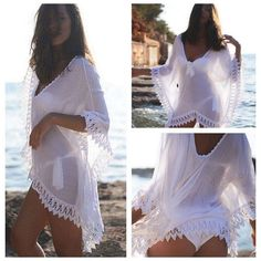 Absolutely Beautiful & Elegant Crochet Lace Trim Bathing Suit Cover Up, Perfect for Romantic Evenings At The Beach! One Size