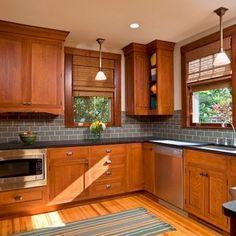 Trendy Kitchen Backsplash With Oak Dark Countertops Maple Cabinets Ideas Honey Oak Cabinets, Oak Kitchen Cabinets, Painting Kitchen Cabinets, Kitchen Redo, Kitchen Tiles, Kitchen Colors, Kitchen Flooring, New Kitchen, Kitchen Black