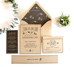 Tattoo inspiration. Woodsy wedding invitation suite rustic wedding by DAYDREAMPRINTS