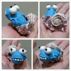 Shell monster sculpey fimo polymer clay
