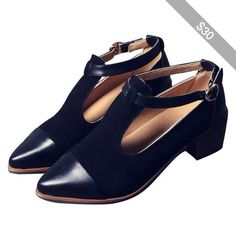 LUCLUC Black London-style Pointed Shoes