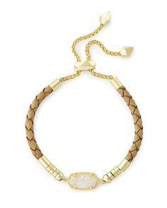 Cruz Adjustable Leather Bracelet in Iridescent Drusy - Kendra Scott Jewelry.