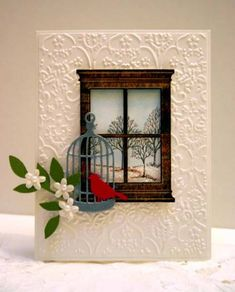 Cuttlebug textile back ground with poppy stamp madison window small ( pattern card stock glossy or embossed?), memory box vintage bird cage, Martha Stewart bird punch and stampin up sizzixlit leaf die? Lovely as a tree from Stampin up inside the window.