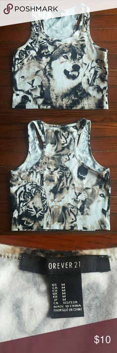 Wild Cat Tiger & Wolf Animal Cropped Tank Top Cropped tank top with wild cats and wolves print. Stretchy material. Forever 21 Tops Tank Tops
