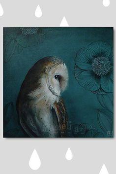 Woodland Owl Bird Print Wall Art Print Acrylic di inameliart