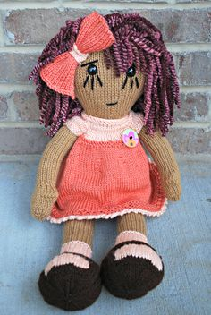 "This adorable, plush doll is sure to be a favorite of your little one!   Beautifully hand knit sure to be a keepsake for many years.   A big doll, measuring approximately 21"" when standing, makes her ideal size for a child to carry around and snuggle with.   No two dolls are ever the same due to it's handmade nature, so you can be sure you are getting an original product."