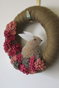 Pink Bunny Wreath Easter Wreath Rabbit Wreath by TheBakersDaughter, $38.00